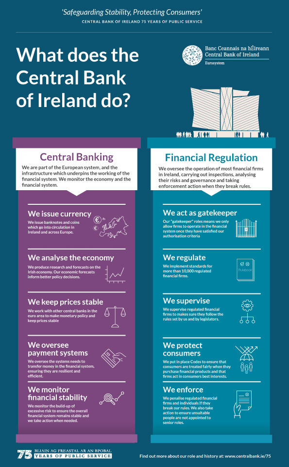 What does the Central Bank of Ireland do?