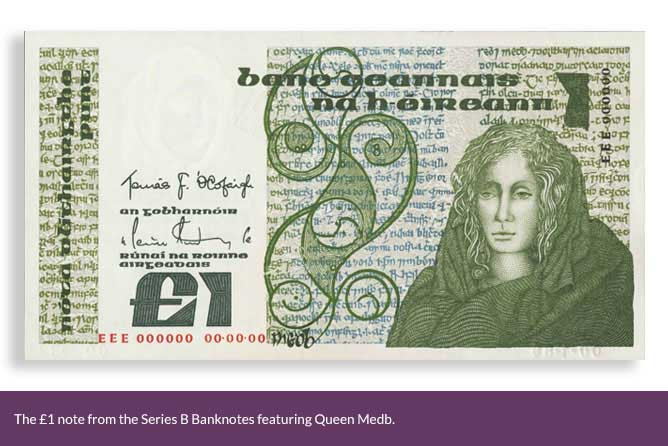 The £1 note from the Series B Banknotes featuring Queen Medb